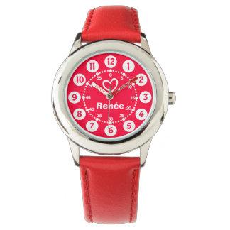 Chicas rojos y reloj blanco del nombre del