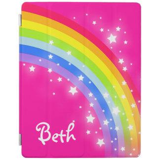 Chicas rosados brillantes del arco iris nombrados cubierta de iPad