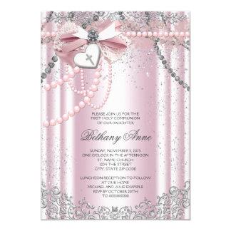 Chicas rosados y comunión de la perla gris primera invitación 12,7 x 17,8 cm