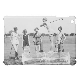 Chicas TEE-OFF en el caso retro del iPad del vinta