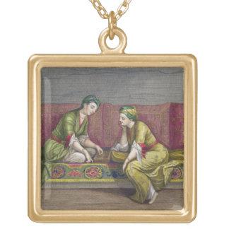 Chicas turcos, jugando Mangala, siglo XVIII (engr Colgante Cuadrado