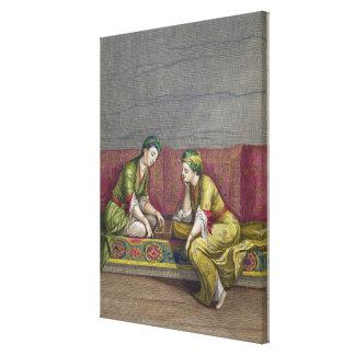 Chicas turcos, jugando Mangala, siglo XVIII (engr Impresión En Lienzo