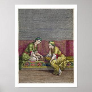 Chicas turcos, jugando Mangala, siglo XVIII (engr Poster