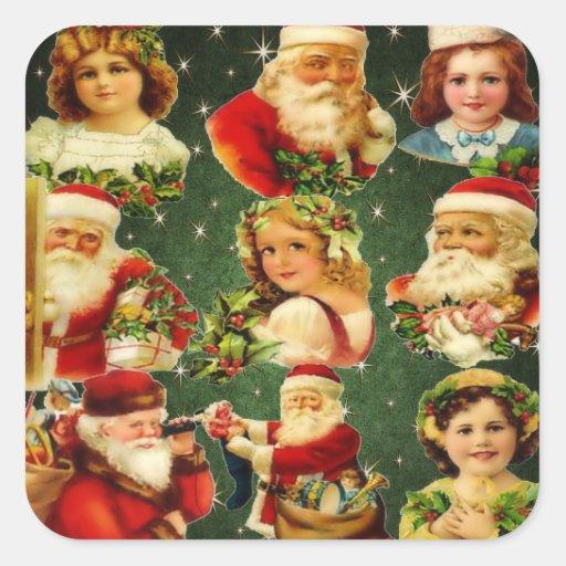 Chicas y Santa pasados de moda del navidad Calcomanías Cuadradas Personalizadas
