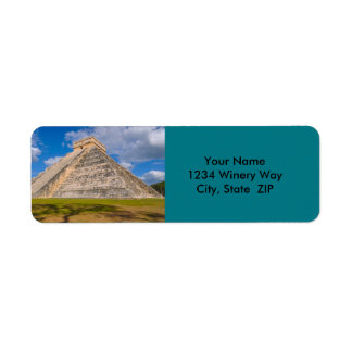 Chichen Itza Mayan Temple in Mexico Label