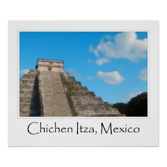 CHICHEN ITZA MAYAN PYRAMID RUINS MEXICO MATTED POSTER