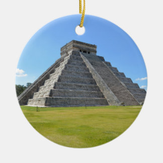 Chichen Itza Mexico Kukulkan Pyramid 7 Wonders Ceramic Ornament