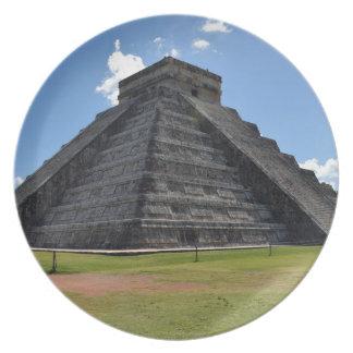 Chichen Itza Mexico Kukulkan Pyramid 7 Wonders Plate