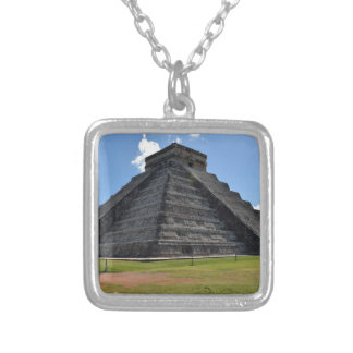 Chichen Itza Mexico Kukulkan Pyramid 7 Wonders Silver Plated Necklace