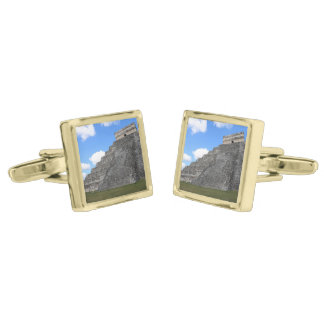 Chichen Itza Temple of Kukulcan south-west View Gold Cufflinks