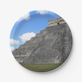 Chichen Itza Temple of Kukulcan south-west View Paper Plate