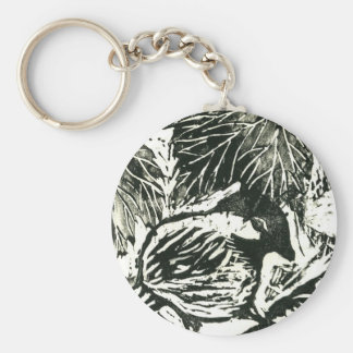 Chick-a-Dee [black and white print] Keychain