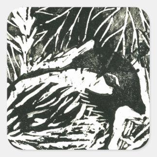 Chick-a-Dee [black and white print] Square Sticker