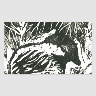 Chick-a-Dee [black and white print] Rectangular Sticker