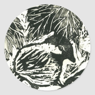 Chick-a-Dee [black and white print] Classic Round Sticker