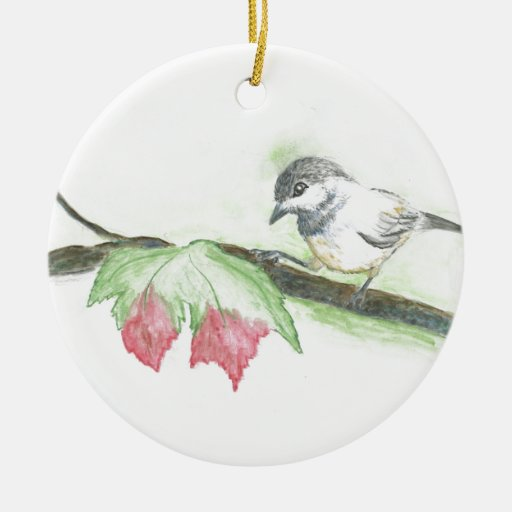 Chick-a-Dee - First Frost watercolor pencil Double-Sided Ceramic Round Christmas Ornament
