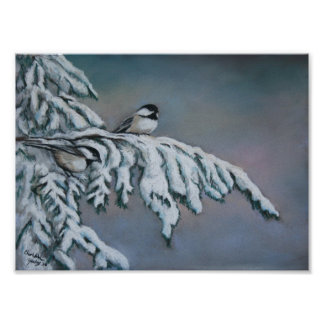 Chick-a-Dee in the Snow Bird Art Print