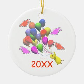 Chick and Balloons Kindergarten Graduation Ceramic Ornament