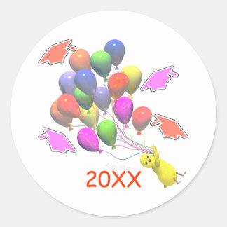 Chick and Balloons Kindergarten Graduation Classic Round Sticker