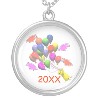 Chick and Balloons Kindergarten Graduation Round Pendant Necklace