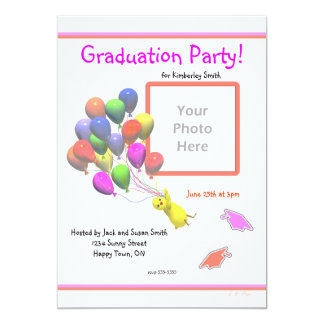 Chick and Balloons Kindergarten Photo Graduation Card