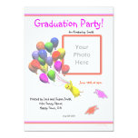 Chick and Balloons Kindergarten Photo Graduation Announcement