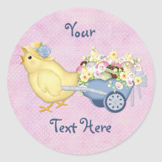 Chick and Cart Classic Round Sticker