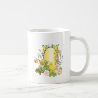 Chick and  daffodils coffee mug