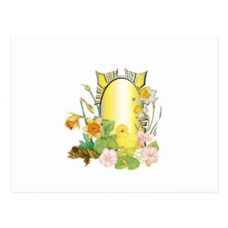 Chick and  daffodils postcard