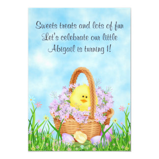 "Chick and Easter Basket 1st Birthday Invitation 5"" X 7"" Invitation Card"