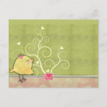 Chick and flower heart tree baby shower invitation postcard