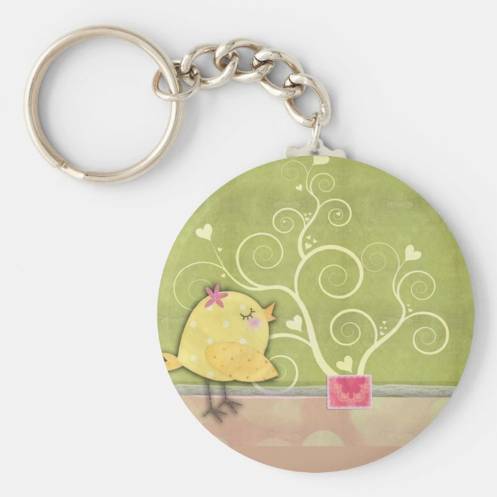 Chick and flower heart tree baby shower keychain