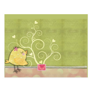 Chick and flower heart tree baby shower postcard