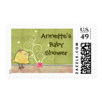 Chick and flower heart tree baby shower stamp