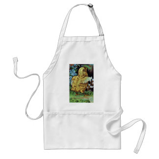 Chick and Golden Butterfly Vintage Easter Adult Apron