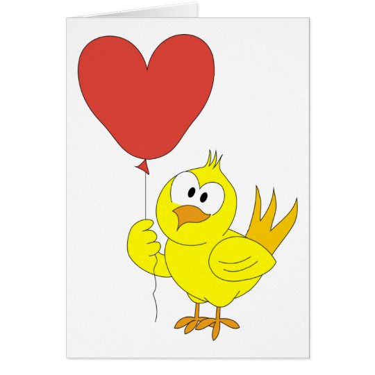 Chick and Heart Birthday Card