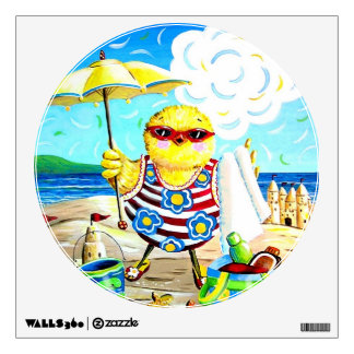 Chick at the Beach Wall Decal