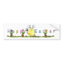 chick-bee-bunny-skybg12x12-easter-cp bumper sticker