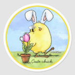 chick-bee-bunny-skybg12x12-easter-cp classic round sticker