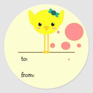 chick chik little cute round stickers