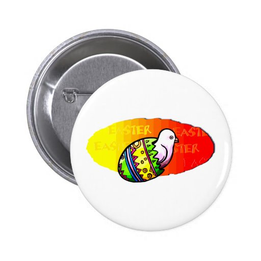 chick colorful egg easter sunset background 2 inch round button