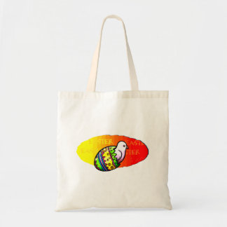 chick colorful egg easter sunset background tote bag