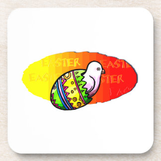 chick colorful egg easter sunset background coaster