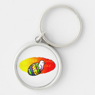chick colorful egg easter sunset background keychain