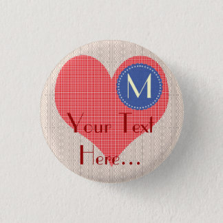 Chick Cute Big Heart Party Pinback Button