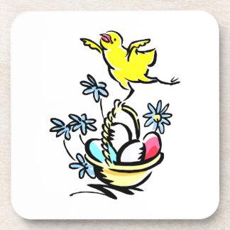 chick dancing on easter basket drink coaster