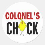 Chick de coronel pegatina redonda