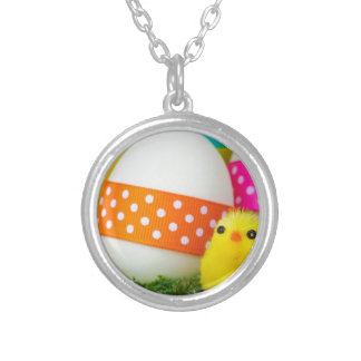 chick easter egg hunt round pendant necklace