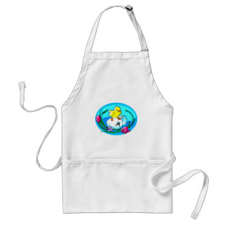 chick egg tulips teal oval apron