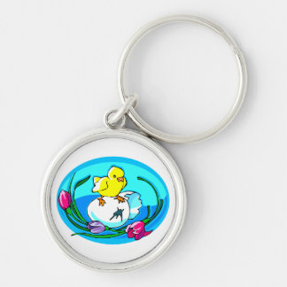 chick egg tulips teal oval keychain